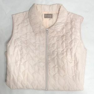Chico's Pale Pink Quilted Day Vest Zip Up Sz XL